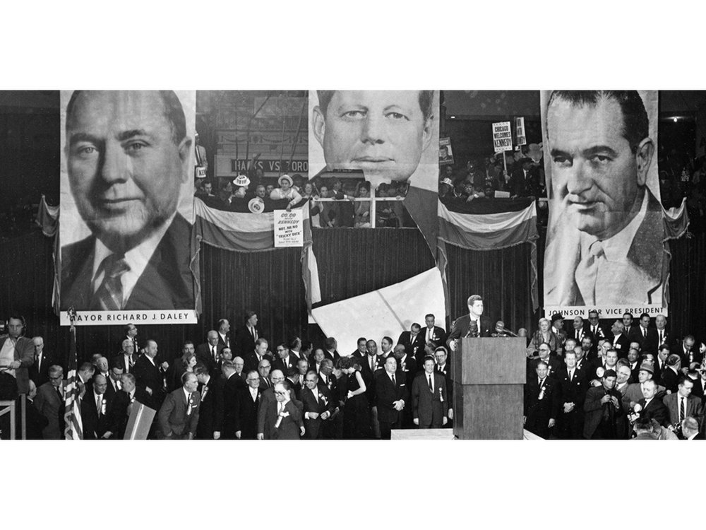 Senator John F. Kennedy speaks to supporters at Chicago Stadium four days before the 1960 election.