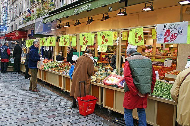Rue Cler locals buying produce