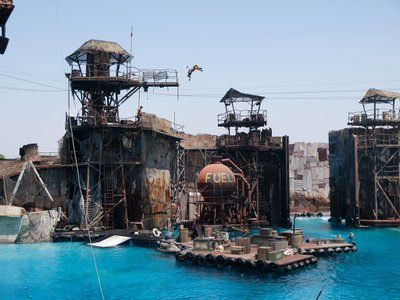 Universal Studios in Hollywood has a stunt show and set inspired by the 1995 film Waterworld.