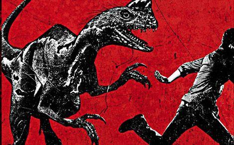 "A teaser poster for Terra Nova shows off an imaginary dinosaur called the ""Slasher."""