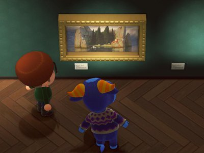 The game's art dealer, a cunning fox named Redd, sells Arnold Böcklin's Island of the Dead under the name Mysterious Painting.