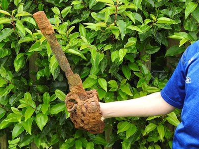 10-year-old Fionntan Hughes found the sword on his first day using a new metal detector.