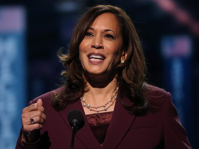 Kamala Harris wears her signature pearls as she accepts the vice-presidential nomination at the August 2020 virtual Democratic National Convention broadcast from Wilmington, Deleware.