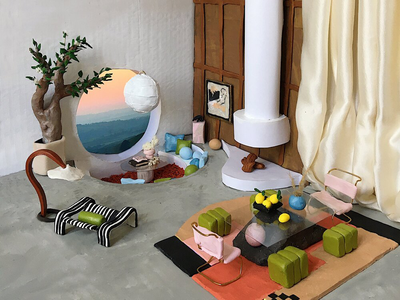 This miniature room design by Julie Dumas Rose is a finalist  in Eny Lee Parker's Clay Play challenge.