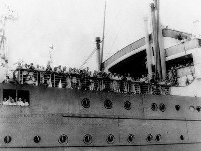 A 1939 photo of German Jewish refugees aboard the German liner Saint Louis.