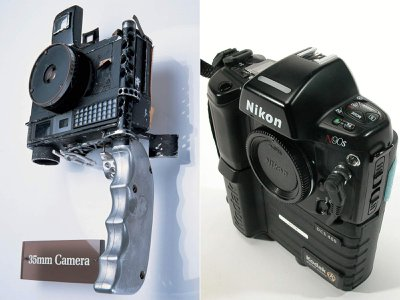 Now held in the collections of the Smithsonian's National Air and Space Museum are a 35 mm camera (left) and a digital camera. Each was used by John Glenn on his two journeys into outer space.