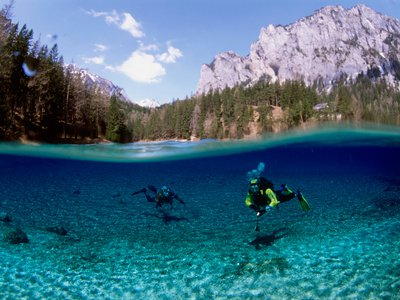 Scuba divers abound at the lake during spring and summer, but during fall and winter the lake is a hiker's paradise instead.