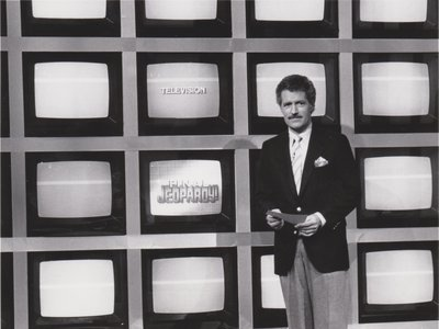 """An early episode of the rebooted """"Jeopardy!,"""" which debuted in 1984 with the legendary late Alex Trebek as its host"""