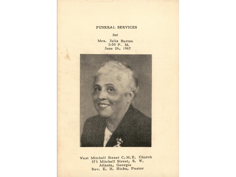 Funeral program for Mrs. Julia Burton, June 26, 1967