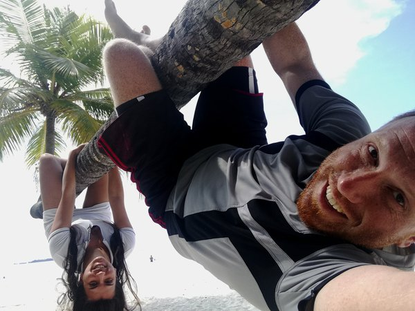 Selfie of couple climbed at coconut tree in Maldives thumbnail