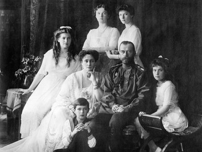 The Romanov family between 1913 and 1914. Alexei is seated in front.