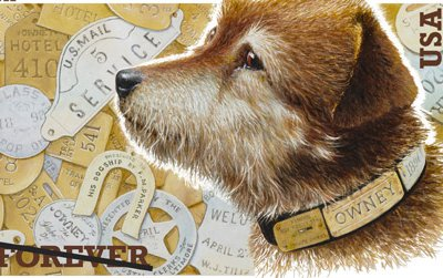 Owney the Dog, immortalized in a stamp.