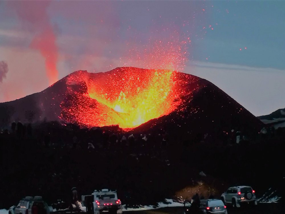 Volcano and Cars