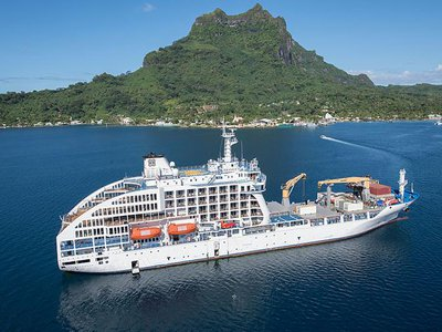 The Aranui 5 is a passenger-freighter vessel that makes 14-day voyages between Tahiti and the Marquesas Islands.