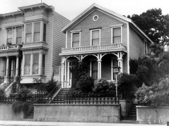 Black and white photo of Victorian home exterior