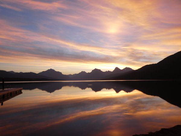 Sunrise over Lake McDonald in Glacier National Park.  thumbnail
