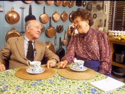 Julia Child and her husband Paul Child at their home in Cambridge, Massachusetts.