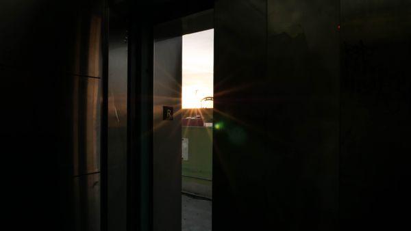 Sunrise seen from elevator thumbnail