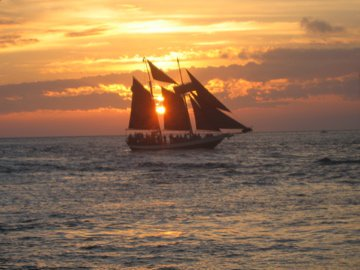 Schooner off Key West at sunset. thumbnail