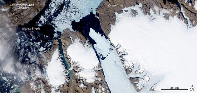An island of ice breaking away
