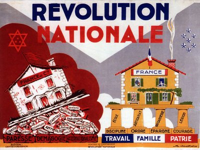 """A poster from the Vichy period shows a disintegrating France on the left, with words like """"communism"""" and """"Jewishness"""" causing the foundation to crumble. On the right are the words of Pétain's France: work, family, fatherland."""