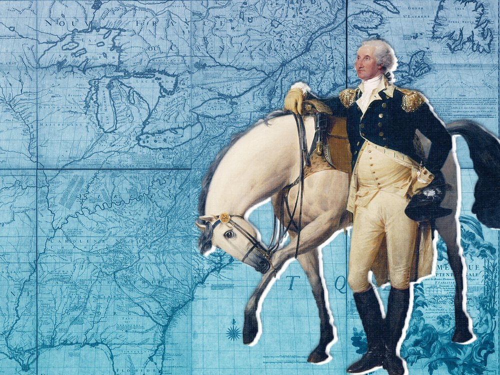 George Washington standing next to a horse in front of a map