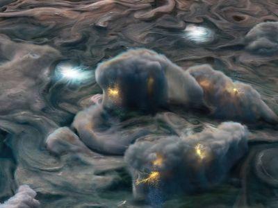 "An illustration of high-altitude ""shallow lightning"" storms on Jupiter"