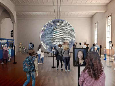 A rendering of the upcoming Planet Word museum's Great Hall, which will feature an LED globe showcasing dozens of languages from around the world