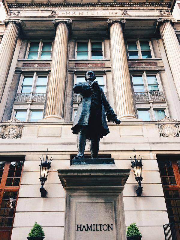 Alexander Hamilton statue in front of Hamilton Hall, Columbia University in New York City thumbnail
