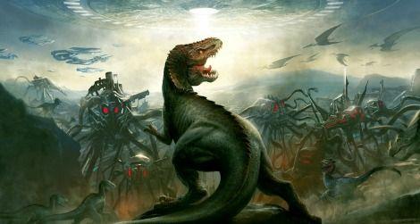 The cover art for Dinosaurs Vs. Aliens