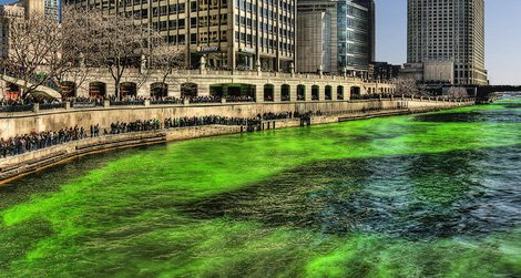 A high resolution photo of the Chicago River on St. Patrick's Day