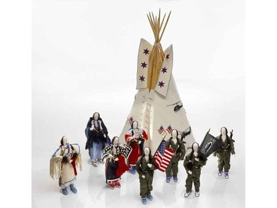 Smithsonian curator Emil Her Many Horses, an artist trained both in traditional beadwork and in doll-making, created a commemorative tableau featuring miniature figures of Vietnam-era veterans and the tribal women who welcomed them home with ceremonies.