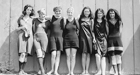 Seven female swimmers at the Tidal Basin in Washington, D.C., 1920