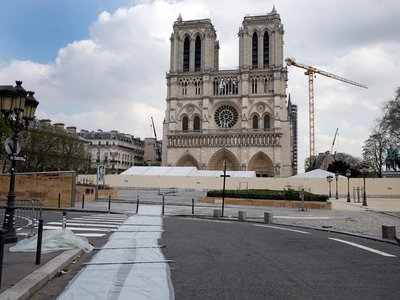 Restoration work at Notre-Dame Cathedral in Paris has paused as France works to control the spread of COVID-19.