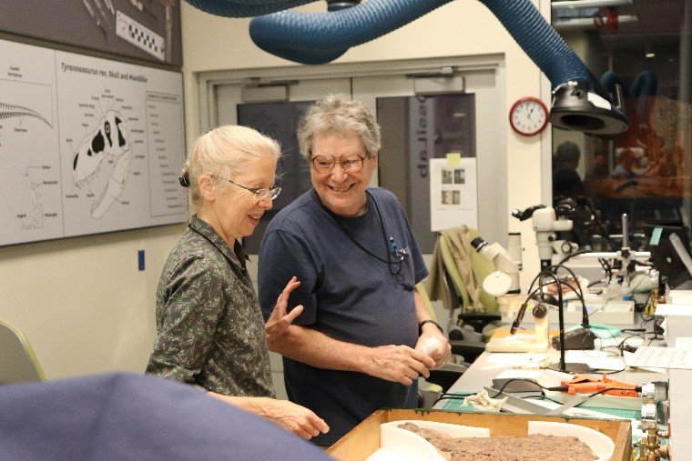 FossiLab manager Abby Telfer and volunteer Harry Iceland at a work space in the FossiLab discussing how to store a fossil.