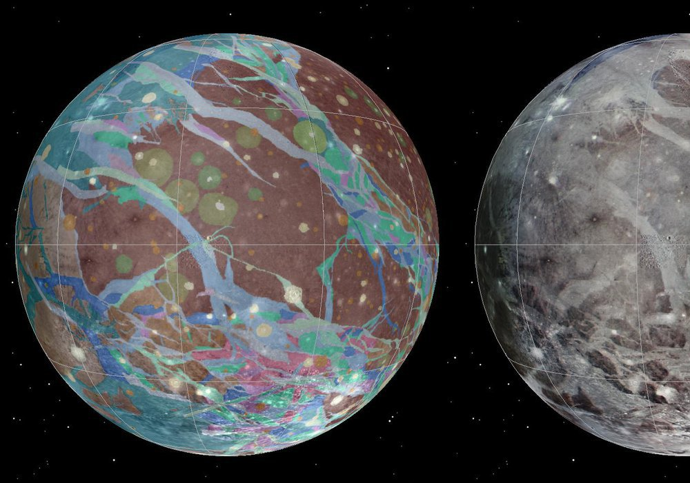 An image of Jupiter's largest moon, Ganymede. The images are geologic maps of the moon taken by NASA's Voyager 1 and 2 spacecraft and NASA's Galileo spacecraft.