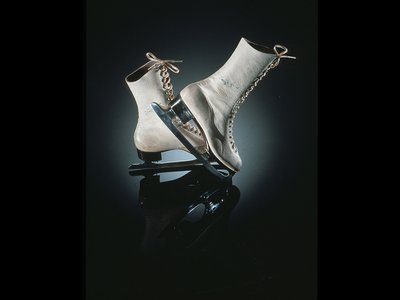 Ice skates signed and worn by Sonja Henie, the Norwegian figure skater who was instrumental in popularizing the sport. Her impressive array of spins and jumps won her three Olympic gold medals.