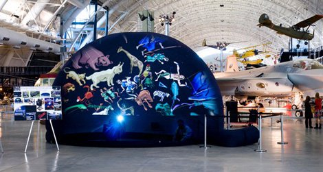 Take a guided tour of the universe in the Air and Space Museum's portable planetarium.