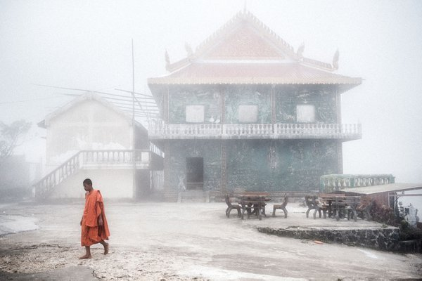 Young monk in the fog thumbnail