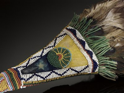 Niuam(Comanche) fan with sun and Morning Star designs (detail), ca. 1880. Oklahoma. 2/1617. (Credit: National Museum of the American Indian, Smithsonian)