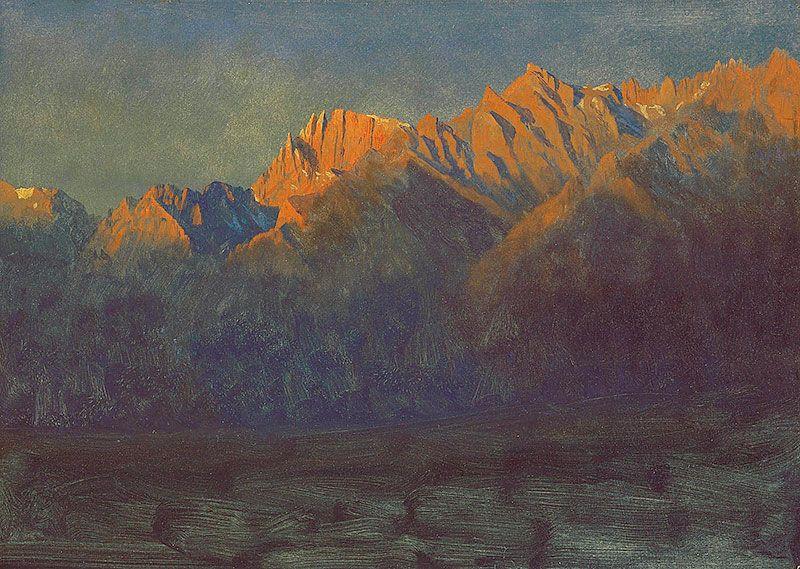 Albert Bierstadt, Sunrise in the Sierras, ca. 1872, oil on paper mounted on paperboard