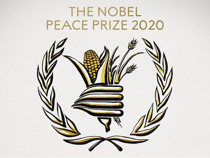 An black and white illustration of a gathering of food-- corn, wheat, surrounded by laurels-- with the text THE NOBEL PEACE PRIZE 2020, with gold accents