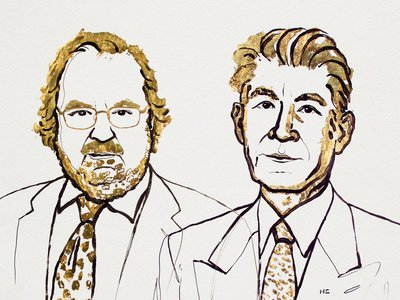An illustration of the winners of the 2018 Nobel Prize in Physiology or Medicine: James Allison (left) and Tasuku Honjo (right).