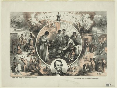 Famed illustrator Thomas Nast designed this celebration of emancipation, with Abraham Lincoln inset at the bottom, in 1865