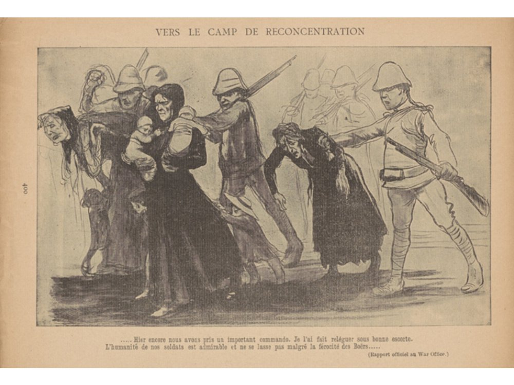 An illustration by cartoonist Jean Veber depicts British Army troops rounding up South African Boer civilians