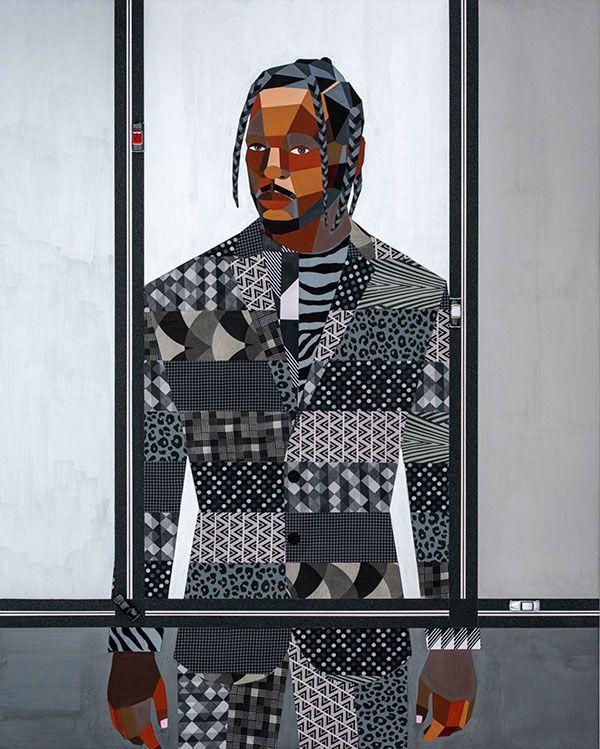 <i>Figure in the Urban Landscape #25 (portrait of Kendrick Lamar)</i>  [Kendrick Lamar], 2018. Derrick Adams. Courtesy of the artist.
