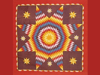 Cotton coverlet quilted in Texas, 19th century.