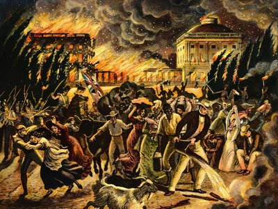 An undated wash drawing depicts the burning of Washington, DC, in August of 1814.