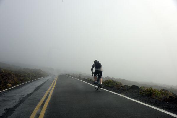 Headed into the unknown near the summit of Haleakala volcano thumbnail