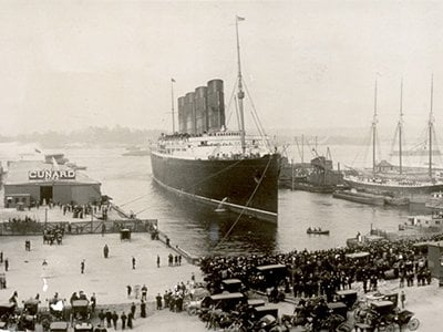 On May 7, 1915, the Lusitania was torpedoed by a German submarine off the coast of Ireland and nearly 1,200 lives were lost.